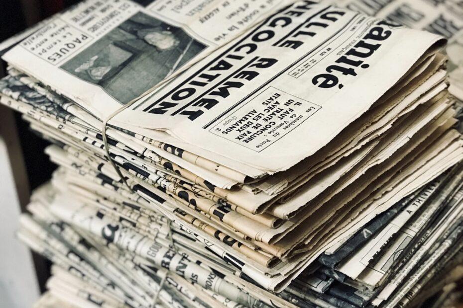 bundle of newspaper on table